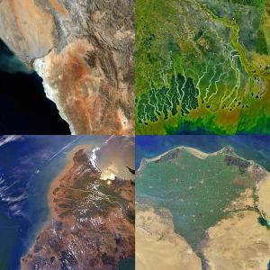 "Typologies of a basin as ""conflictual"" or ""cooperative"" paint over the ever-evolving deliberation and contestation of river basin development by various stakeholders at multiple spatial scales. (NASA imagery of river basin mouths. clockwise from top-left: Orange, Ganges, Mekong, Nile)"