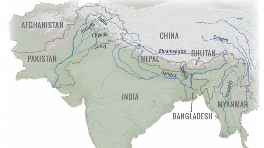 Major rivers of South Asia with origins in the Himalaya and Tibetan Plateau.