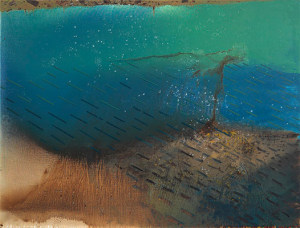 Anne Neely, Spill, a painting included in the MoS Water Stories exhibit.